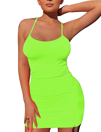 - Mizoci Women's Basic Spaghetti Strap Tank Dress Sexy Sleeveless Bodycon Mini Club Dress,Small,Light Green