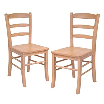 Winsome Wood Ladder Back Chair, Light Oak, Set of 2