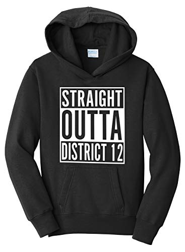 Tenacitee Girl's Youth Straight Outta District 12 Hooded Sweatshirt, Large, Black -
