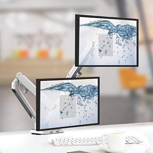 Bemorergo Dual LED LCD Monitor Desk Mount Stand- Full Aluminum Gas Spring Arm Height Adjustable VESA Bracket 2 in 1 Heavy Duty, Fits 2/Two Screens up to 17-32 inches Slim Sleek Ergonomic Design(White)
