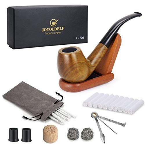 Joyoldelf Tobacco Smoking Pipe Set with Wooden Stand, 3-in-1 Pipe Scraper, 10 Pipe Cleaners & Pipe Filters, 2 Pipe Bits & Metal Balls, Cork Knocker, Bonus a Pipe Pouch ()