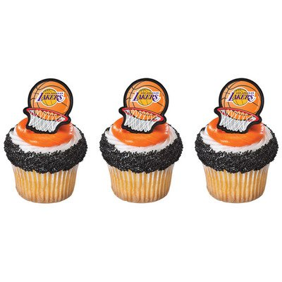 12 LA LAKERS los angeles LICENSED BASKETBALL rings CUPCAKE toppers PARTY favors CAKE decor FAN