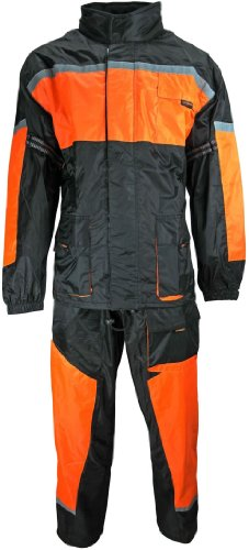 Motorrad Regenkombi Regenhose Regenjacke schwarz neon orange Gr. L