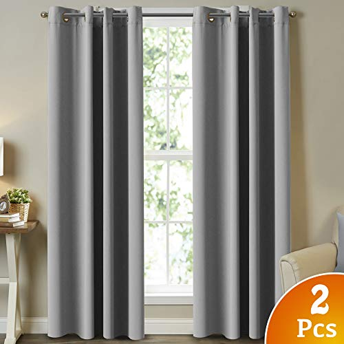 Turquoize Thermal Insulated Blackout Grey Curtains Room Darkening Winow Treatment Extra Long Grommet Curtains/Drapes for Bedroom/Living Room/Patio (Set of 2 Panels, 52 x 108 Inch, Dove) -