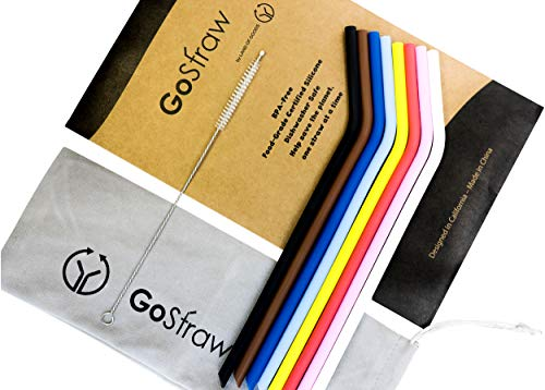 Reusable Silicone Drinking Straws | Set of 8 Standard Regular Size Straw Non-Rubber, BPA Free with Cleaning Brush and Microfiber Pouch by GoStraw