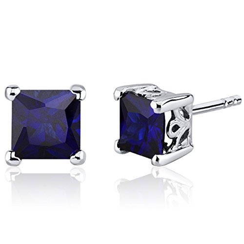 Created Blue Sapphire Princess Stud Earrings Sterling Silver 2.50 Carats by Peora