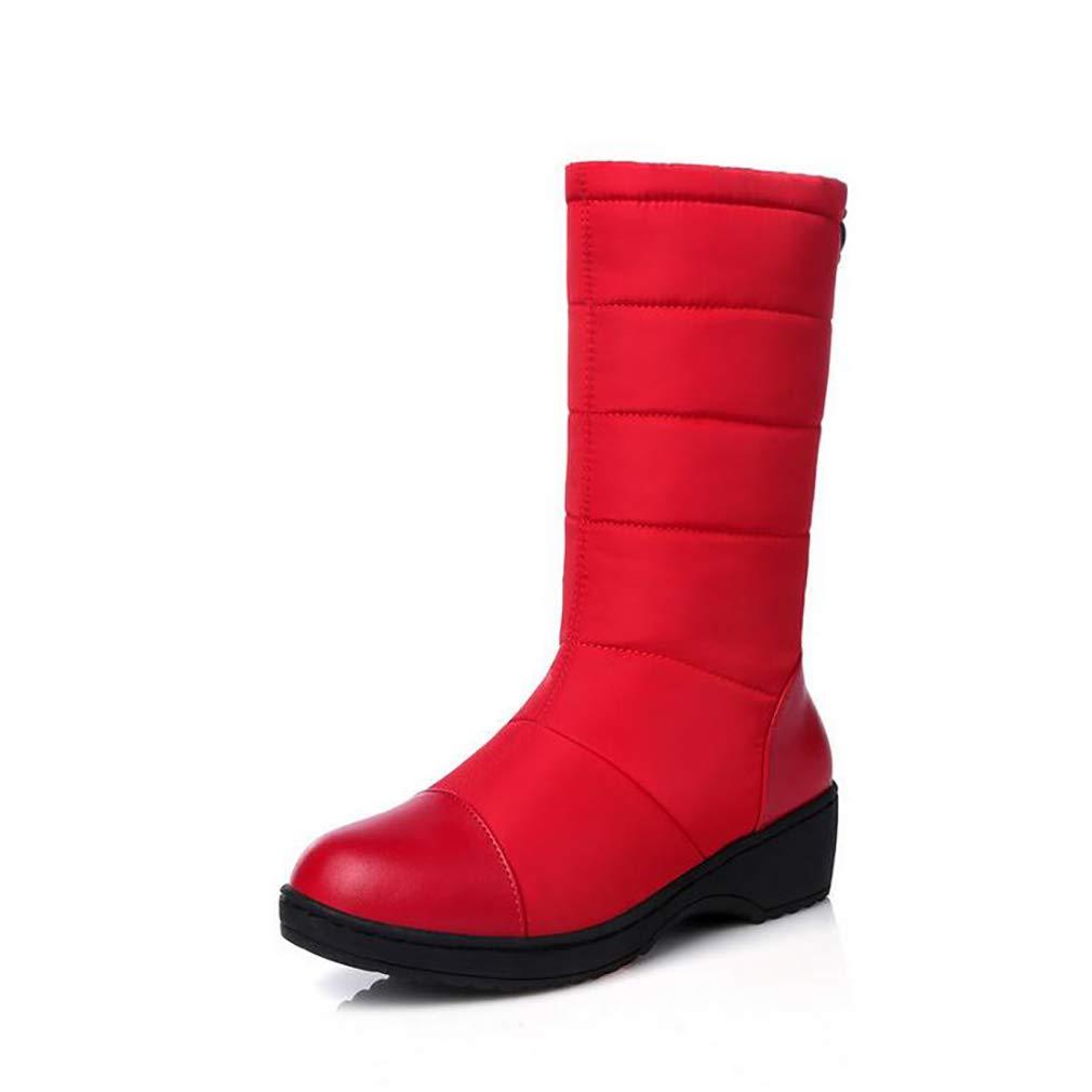 Hy Frauen Stiefel Winter Künstliche PU Warm Plus Kaschmir Schnee Stiefel Stiefel/Damen Daunen Wasserdichte Winterstiefel/Flache Ferse Stiefelies/Stiefeletten (Farbe : Rot, Größe : 37)