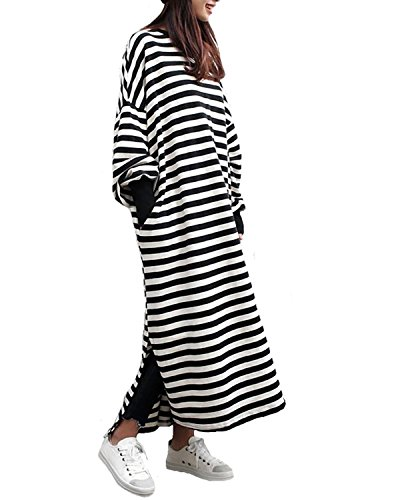 Stripe Kaftan (ZANZEA Women's Kaftan Crew Neck Batwing Long Sleeve Casual Loose Maxi Long Dress Sweatshirt Stripe S)
