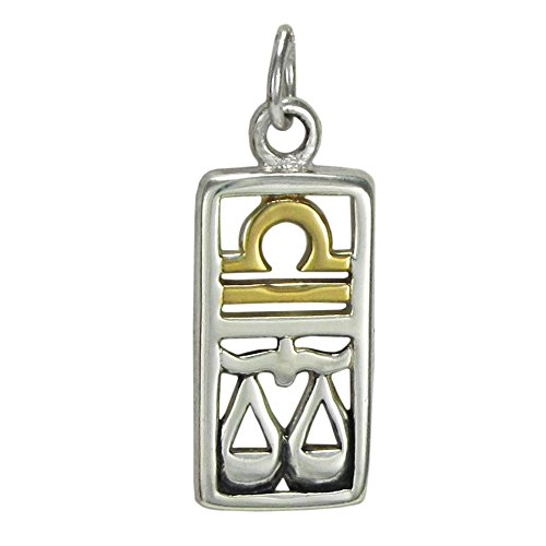 Zodiac Scales Libra - Sterling Silver Libra the Scales Zodiac Charm with 14 Carat Gold Plating
