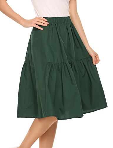on A-Line Flare Pleated Maxi Skirt ()