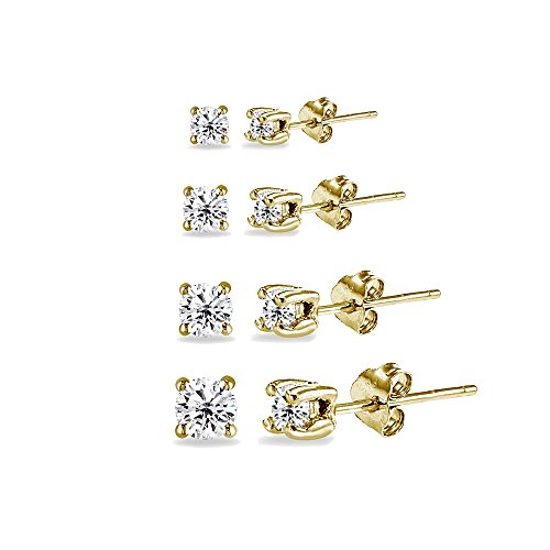 - GemStar USA 4 Pair Set Yellow Gold Flashed Sterling Silver Cubic Zirconia Round Stud Earrings, 2mm 3mm 4mm 5mm