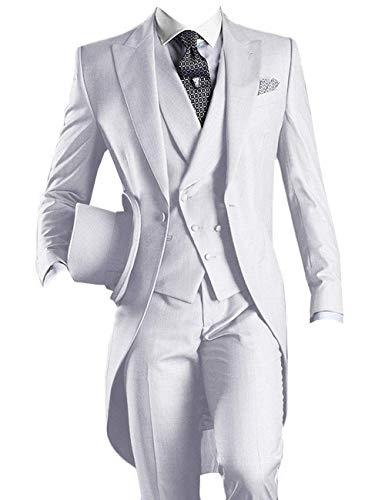 - YBang Men's Classic 3 Pieces Tux Suit One Button Regular Fit Long Tail Tuxedos(White,44R)