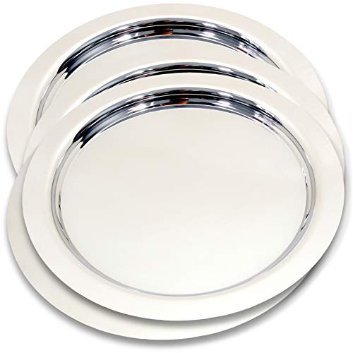 - Maro Megastore (Pack of 4) 14-Inch Round Chrome Plated Serving Tray Plain Simple Design Decorative Style Holiday Wedding Birthday Buffet Party Dessert Food Art Decor Party Wine Platter Ts-067