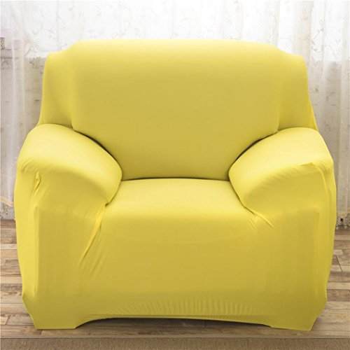 Staron Slipcover Couch Covers Single Sofa Stretch Elastic Strap Fabric Settee Furniture Protector Home Decor (Yellow) (Wingback Chair Yellow)