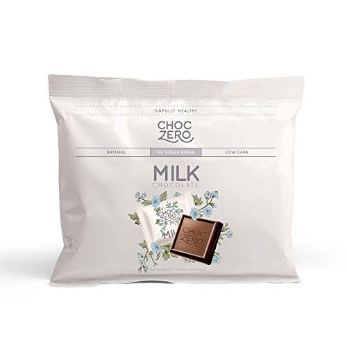 ChocZero Premium Milk Chocolate, Sample Pack. No Sugar Added, Low Carb. No Sugar Alcohols, All Natural, Non-GMO (1 bag, 10 pieces)