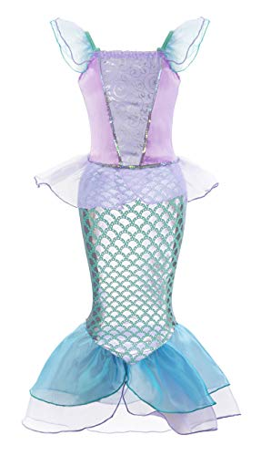 - Padete Little Girl Mermaid Princess Costume Sequins Party Dress (8-9 Years, Purple)