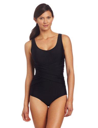 Speedo Women's Active Criss Cross Front One-Piece Swimsuit, Black, 8