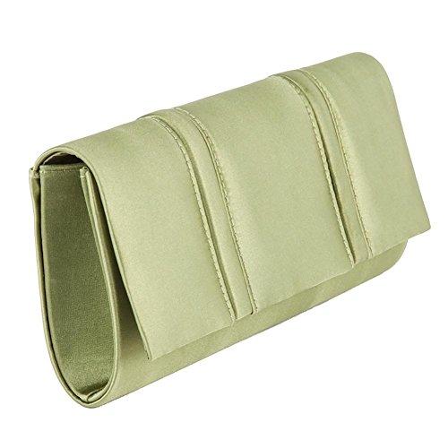 Bolsa de embrague, Rosalinda Verde, satén