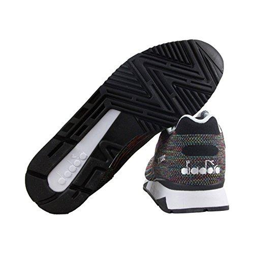 Diadora V7000 Weave Ii Hommes Maille Noire Athlétique Lacets Chaussures De Course