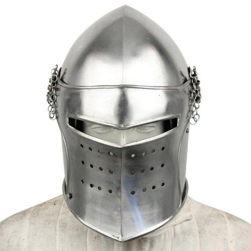 Replica Of Steel Costumes Man (Medieval Renaissance Detachable Visor Barbute 16 Guage Functional Helmet)