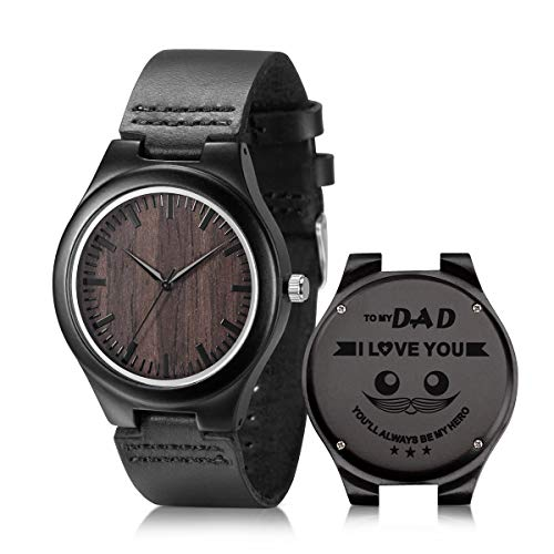 Gift Wrist Mens Watch - Engraved Wooden Watch for Dad from Daughter Father's Day Birthday Gift Personalized Wood Wrist Watch