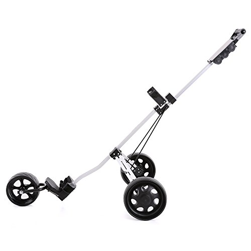 TOMSHOO 3 Wheels Golf Push Cart Foldable Aluminum Pull Cart Trolley with Footbrake System by TOMSHOO (Image #8)