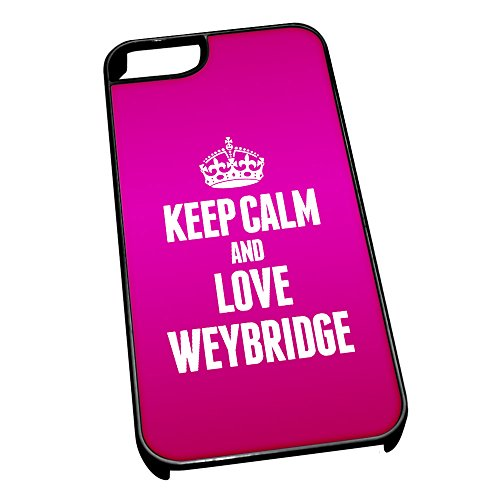 Nero Cover per iPhone 5/5S 0701 Rosa Keep Calm And Love Weybridge