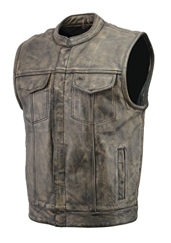 Men's SOA Leather Club Style Vest with Concealed Gun Pocket | Soft Cowhide Leather | Motorcycle Biker Apparel with Patch Access Lining & Hand Warming Pockets (Distressed Brown, L)