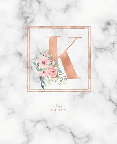 Dotted Journal: Dotted Grid Bullet Notebook Journal Rose Gold Monogram Letter K Marble with Pink Flowers (7.5 x 9.25) for Women Teens Girls and Kids