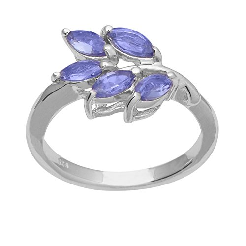 (Marquise Shape Tanzanite Gemstone 925 Sterling Silver Leaf Design Cluster Ring)