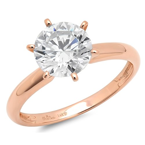 Clara Pucci 1.4 CT Brilliant Round Cut Solitaire Engagement Wedding Ring Solid 14k Rose Gold, Size 6 (Engagement Rose Ring Gold Settings)