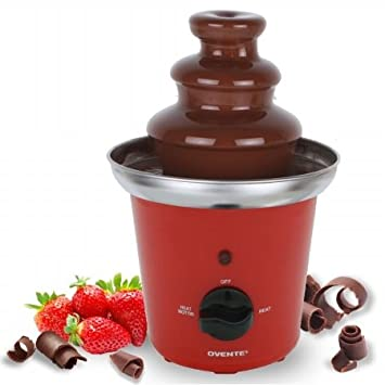 Ovente 2-Tier Chocolate Fountain Stainless Steel, 9 inch, Red (CFS43R) CF43SR