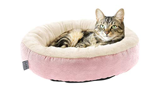 Love's cabin Round Donut Cat and Dog Cushion Bed, 20in Pet Bed for Cats or Small Dogs, Anti-Slip & Water-Resistant Bottom, Super Soft Durable Fabric Pet beds, Washable Luxury Cat & Dog Bed Pink ()