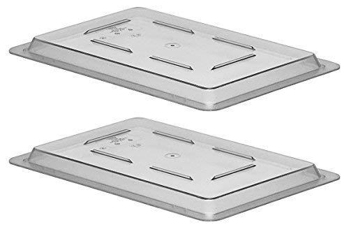Cambro 1218CCW135 Camwear Food Storage Box Flat Lids, Set of 2 (12 x 18-Inch, Polycarbonate, Clear, NSF)