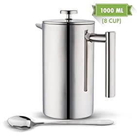 MIRA Double Wall Tea & Coffee Brewer French Press | Stainless Steel Insulated Coffee Pot & Maker | Keeps Brewed Coffee or Tea Warm for Hours | BONUS Long Spoon | 34 Oz (1 Liter)