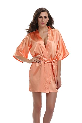 Sunnyhu Women's Pure Color Kimono Robe, Short (S, Orange) -