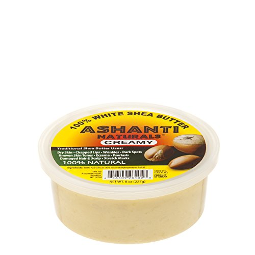 (ASHANTI NATURALS 100% SOFT AND CREAMY NATURAL AFRICAN SHEA BUTTER, WHITE, 8 OZ.)