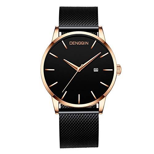 Clement Attlee Men's Watch Casual Fashion Luxury Stainless Steel Strap Calendar Dial Men's Business Quartz Analog Wrist Watch (D)