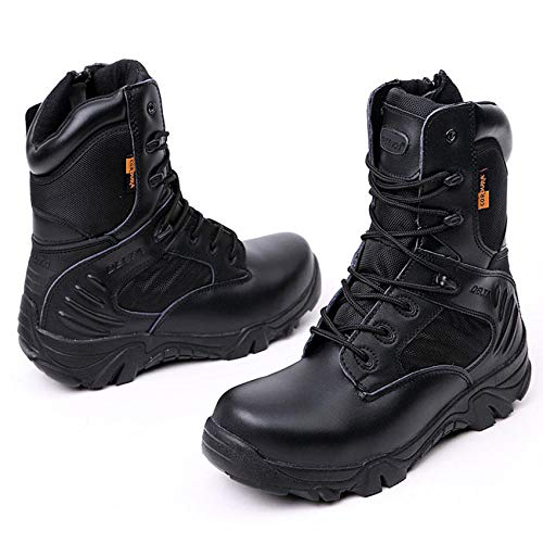 F.S.M. Army Men Commando Combat Desert Outdoor Hiking Boots Landing Tactical Military Shoes - Black 8.5 by F.S.M.