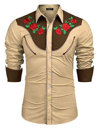 COOFANDY Men's Embroidered Rose Design Western Shirt Long Sleeve Button Down Shirt(Khaki,XXL)