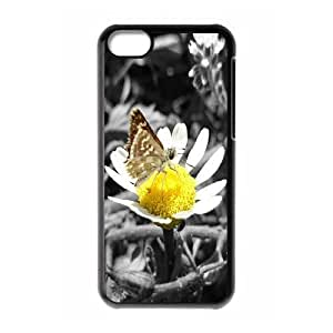 IPhone 5C Cases Daisy and Butterfly, IPhone 5C Cases Daisy Hardshell for Girls, [Black]