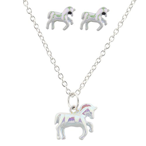 - Lux Accessories Silvertone White Metallic Unicorn Earring Necklace Set
