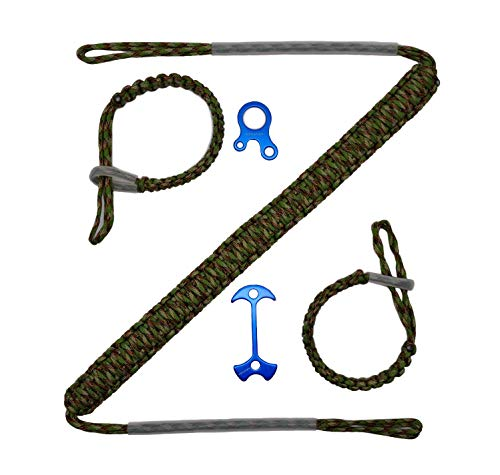 HZUTUZH 250 Paracord Archery Bow Sling - Ideal Archery Hunting Accessories for Compound Bow & Crossbow - Multi Functional Survival EDC Rope Lock Adjustable for Hunting & Shooting (Woodland CAMO)