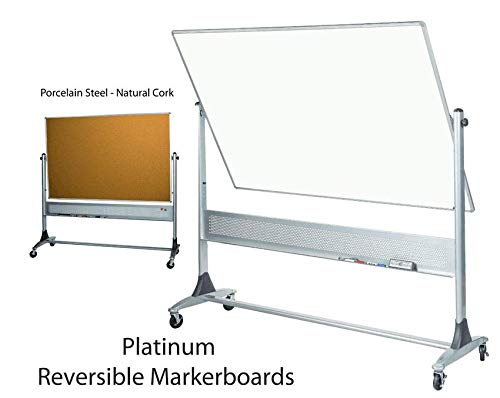 Platinum Reversible Mobile Board (White Porcelain Steel - Natural Cork) 4'H x 6'W ()