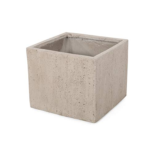 Christopher Knight Home 313321 Vanessa Outdoor Modern Medium Cast Stone Square Planter, White, 15.85 D x 15.75 W x 13.60…