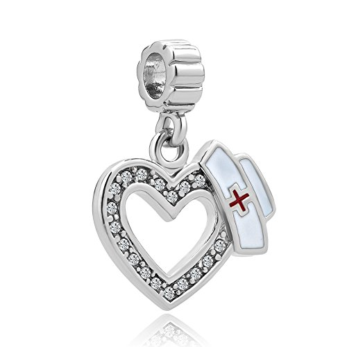 Charmed Craft Heart Love Nurse Charms Nurse Cap Red Cross Dangle Beads for Bracelets (dangle nurse (Single Charm)