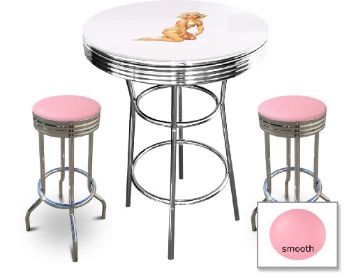 Marilyn Monroe Themed Bar Table Set - White Bar Table with Glass Table Top Surface and 2 Chrome 29'' Swivel Seat Bar Stools by The Furniture Cove