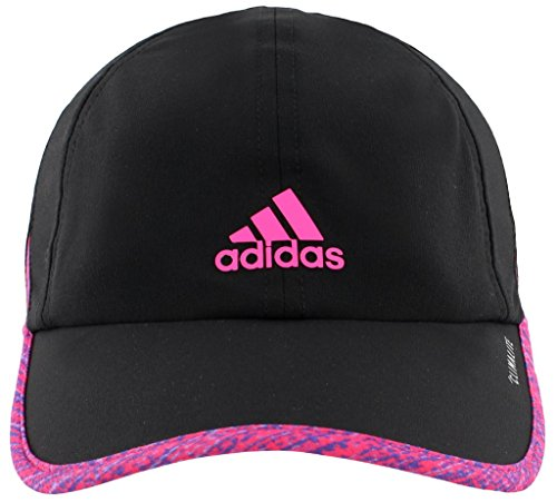 adidas Women's Superlite Relaxed Performance Cap, Black/Subdued Print/Shock Pink, One Size Print Spandex Hat
