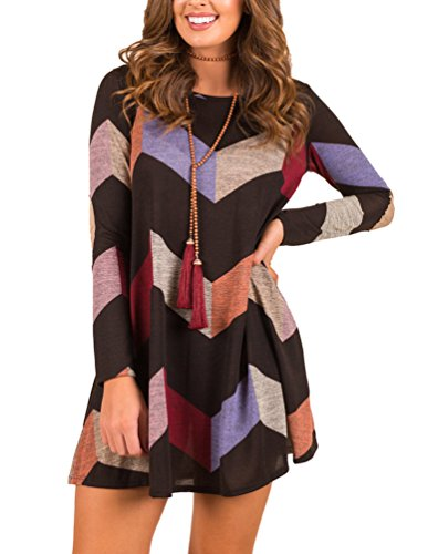 MIROL Women's Chevron Striped Tunic Color Block Long Sleeves