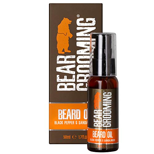 - Premium Beard Oil 50ml - Light, Men's Beard Oil for a Soft Beard and Healthy Skin - Containing Natural Ingredients - Exclusive Black Pepper and Sandalwood scent by BEAR GROOMING